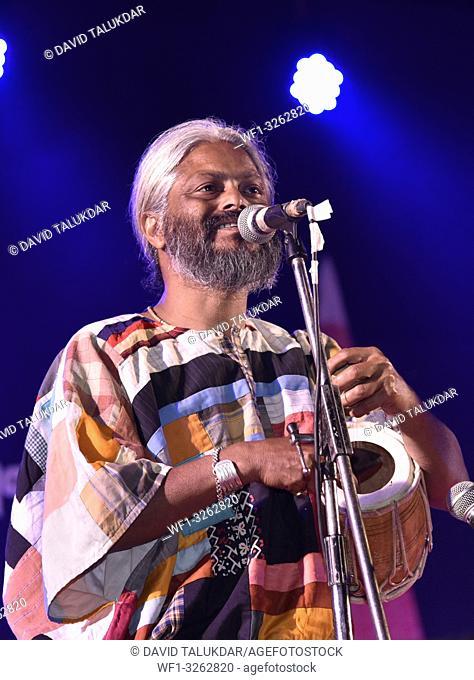 Guwahati, Assam, India. March 10, 2019. Famous Indian Baul singer Kartik Das Baul of kolkata performs during Silpgram Mahotsav at Shilpgram