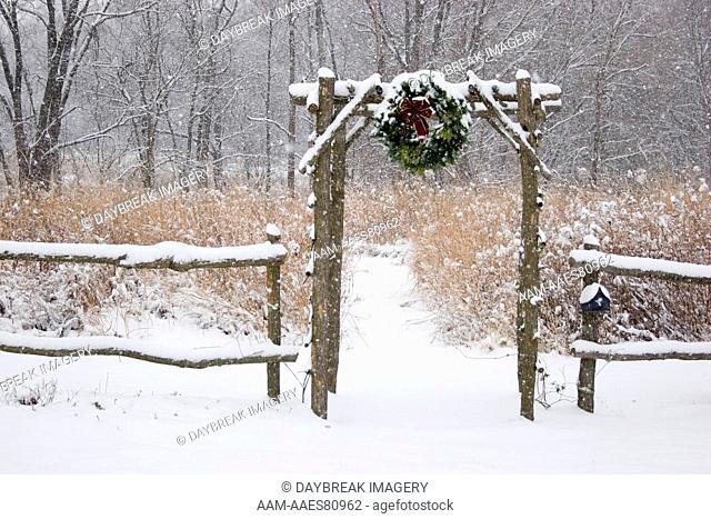 Rustic Fence & Arbor with Holiday Wreath near Prairie in Winter, Marion Co. IL Christmas
