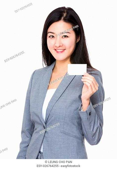 Asian Businesswoman show with the name card