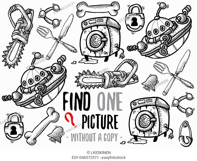 Find one picture without a copy. Educational game for children with cartoon characters. Characters ready for colouring