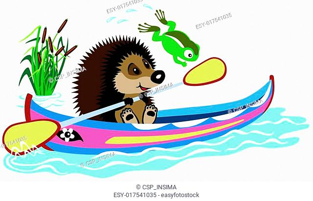cartoon hedgehog padding in a kayak