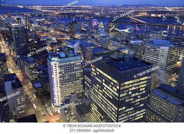 Canada, Quebec, Montreal, skyline, aerial view, night,