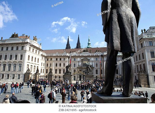 Statue of T. G. Masaryk at Prague Castle Square, (Czech: Hradcanske namesti), Prague, Czech Republic, Europe