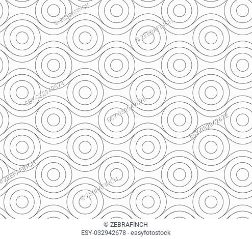 Monochrome abstract geometrical pattern. Modern gray seamless background. Flat simple design.Gray circles touching wavy lines