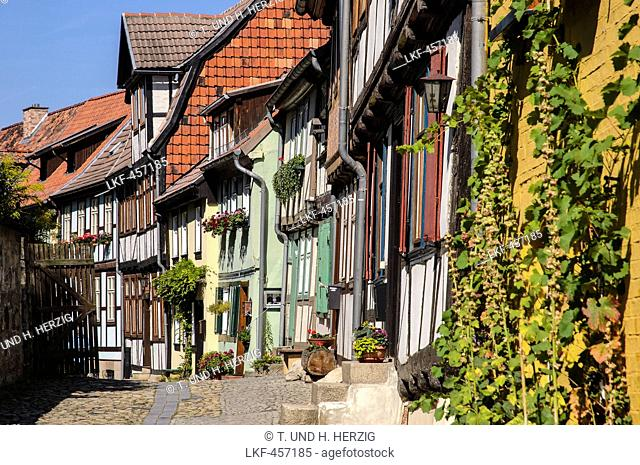 Half-timbered houses in an alley on Schlossberg Quedlinburg, beneath the Castle and Collegiate Church of St Servatius, Quedlinburg, Harz, Saxony-Anhalt, Germany