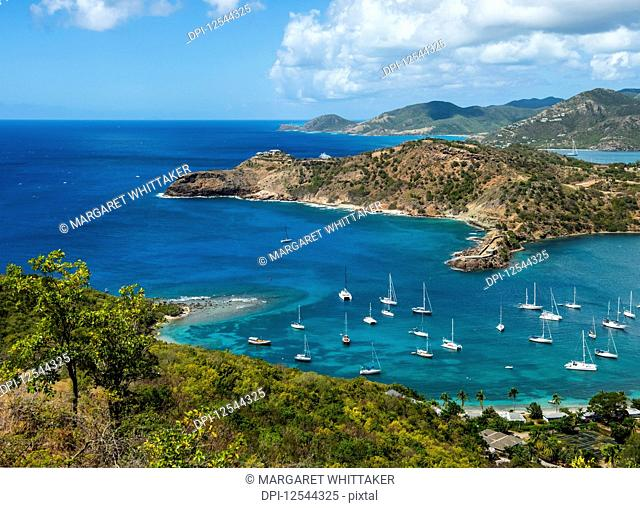 Entrance to harbour seen from Shirley Heights lookout; Antigua