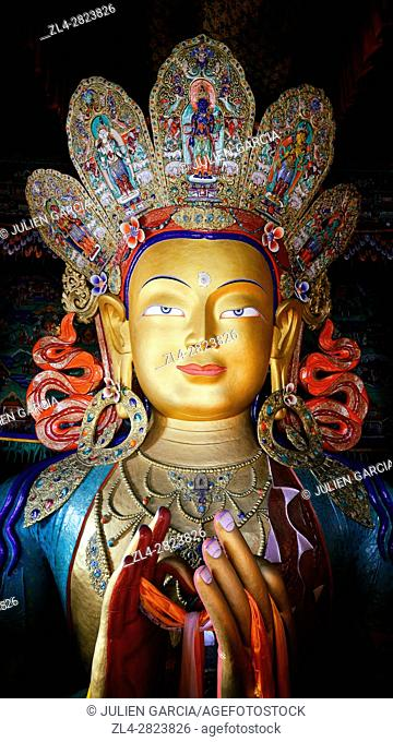 India, Jammu and Kashmir State, Himalaya, Ladakh, Indus valley, Buddhist monastery of Thiksey, 15m-high statue of the Maitreya Buddha (future Buddha) in a...