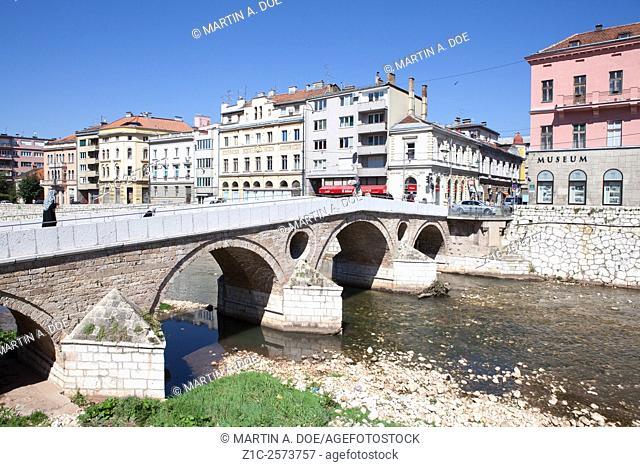The Latinska cuprija (Latin Bridge) and the Sarajevo Museum. Sarajevo, Bosnia-Herzegovina
