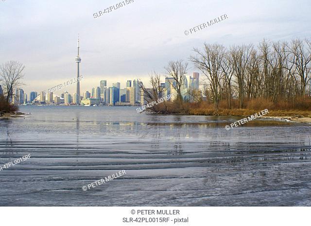 Toronto city skyline on water