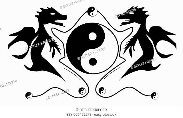 Drachen mit Yingyang Symbol