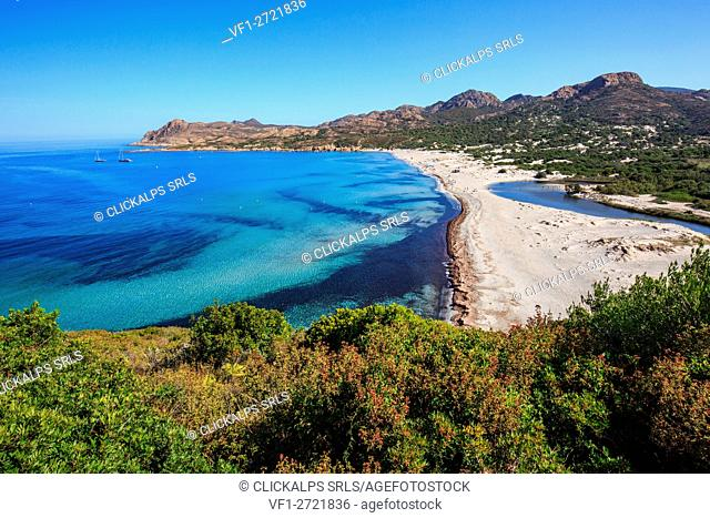 Corse, France, the clean water from the Ostriconi beach, Balagne