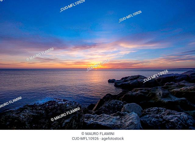 National Park Monte Conero, View from Beach Urbani, Sunrise, Sirolo, Marche, Italy, Europe