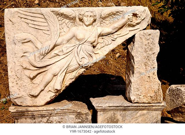 Marble Carving at along Street of Curetes in ancient Ephesus, Turkey