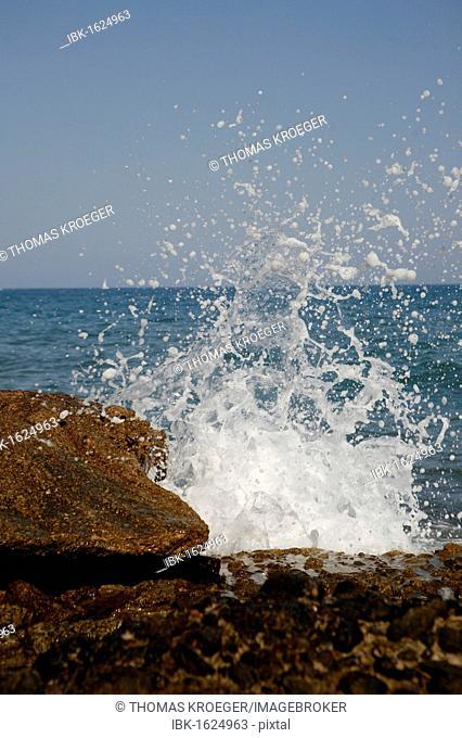 Sea spray, Mediterranean coast in Sitges, Parc National del Garraf, Costa Dorado, Spain, Europe