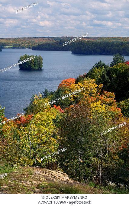 Fairy Lake in autumn nature scenery, Huntsville, Muskoka, Ontario, Canada