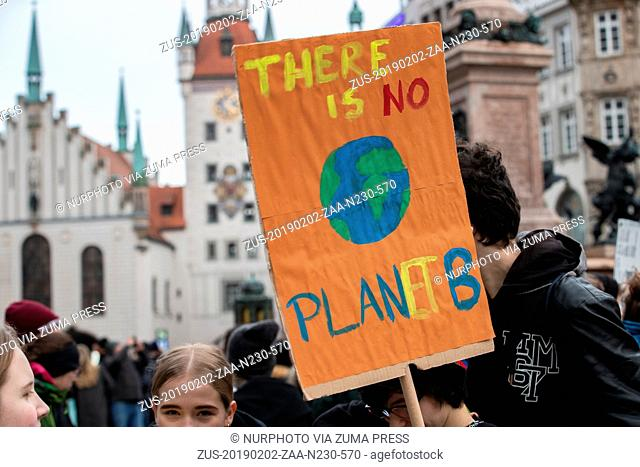 February 2, 2019 - Munich, Bavaria, Germany - Sign reading ' There is no Planet B ', in Munich, Germany, on February 2, 2019