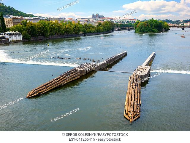 View on river Vltava and Mala Strana from the Jiraskuv bridge in Prague