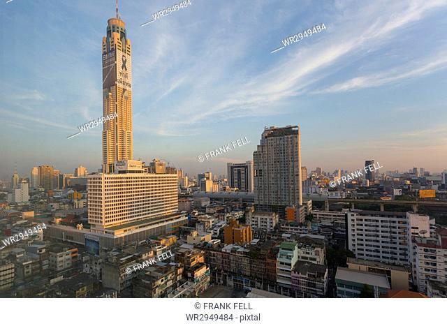 Morning view of Baiyoke Tower and city skyline, Bangkok, Thailand, Southeast Asia, Asia