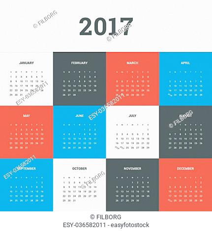 Calendar 2017. Simple flat design vector template