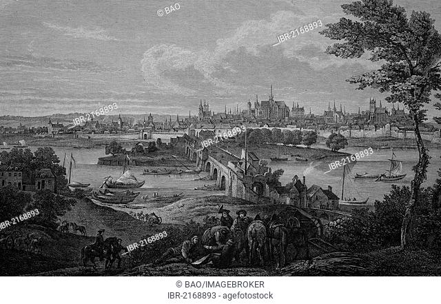 Orleans, France, in 1690, historical engraving, 1883
