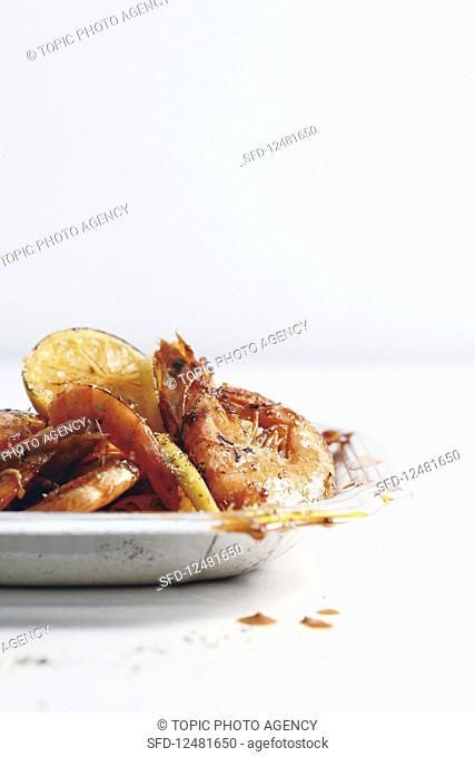 Grilled shrimp with lemon butter