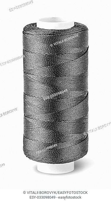 Black thread on the coil top view isolated on white background
