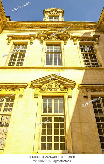 Town Hall on Liberation Square in a Sunny Day with Blue Sky in Dijon, Burgundy, France