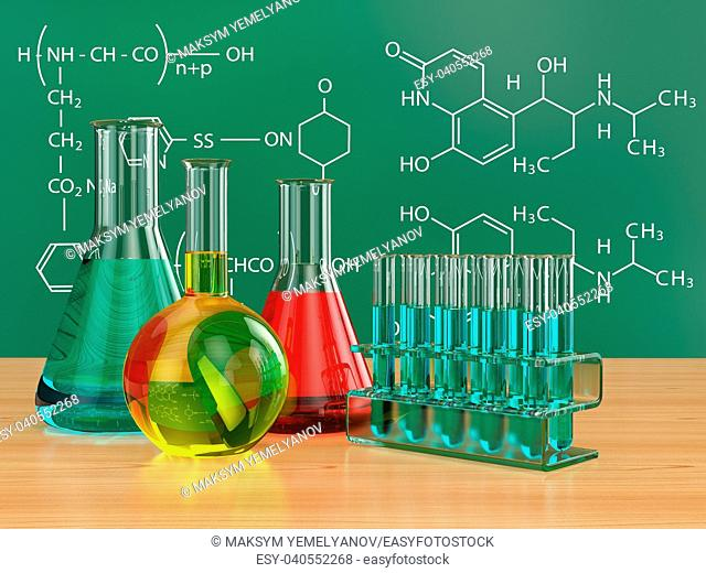 Chemical flasks and blackboard with formulas. 3d