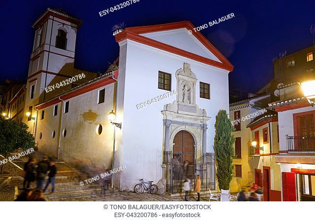 Saint Gregorio church Albaicin of Granada at sunset of Andalusia Spain