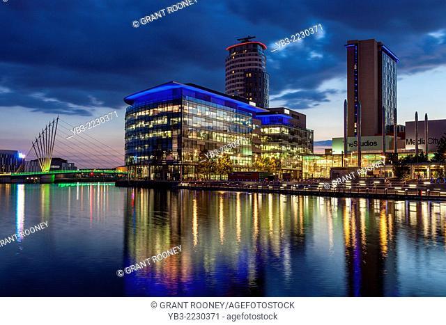 Media City Uk and The Media City Footbridge, Salford Quays, Manchester, England