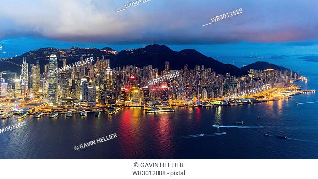 Elevated view, Harbour and Central district of Hong Kong Island and Victoria Peak, Hong Kong, China, Asia