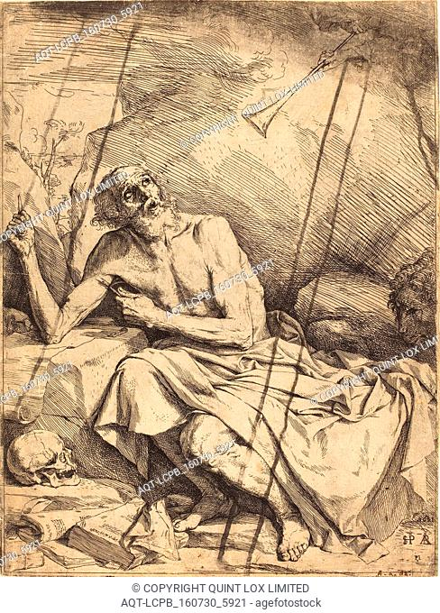 Jusepe de Ribera (Spanish, 1591 - 1652), Saint Jerome Hearing the Trumpet of the Last Judgment, 1621, etching, drypoint, and engraving