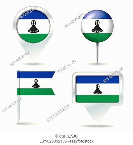 Map pins with flag of Lesotho