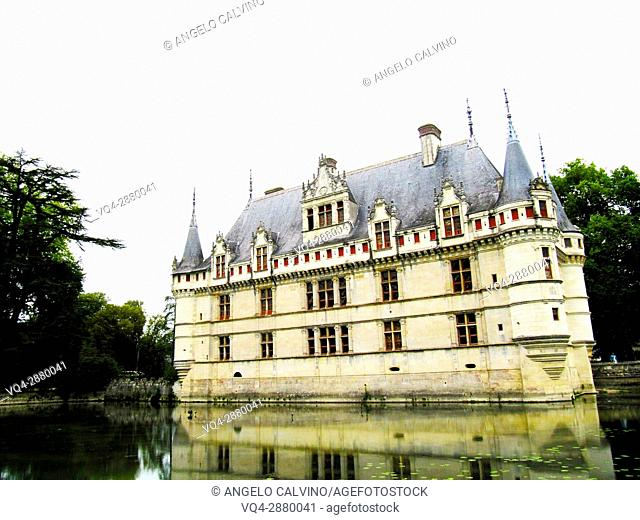 Exterior of the Renaissance Château d'Azay-le-Rideau with its River Indre moat, Built between 1518 and 1527, Loire Valley, France.
