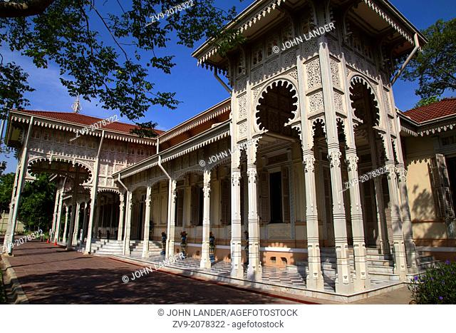 Abhisek Dusit Throne Hall was completed in 1904. The small one storey building was used exclusively for state occassions during the time of the Dusit Palace