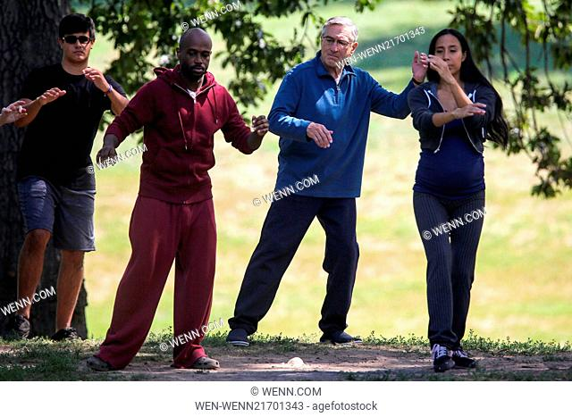 Robert De Niro doing Tai Chi on the set of his upcoming movie 'The Intern' in Brooklyn Featuring: Robert De Niro Where: NY, New York