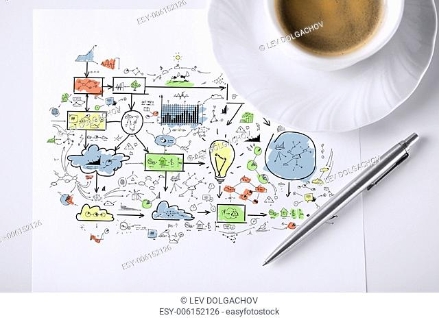 business and finances concept - colorful plan on paper with pen and coffee
