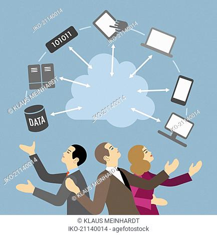 Business people using computer devices and cloud computing for data sharing