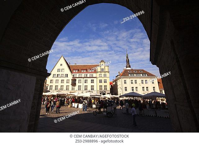 Framed view to the colorful houses and market stalls in the main Square Raekoja Plats, Tallinn, Estonia, Baltic States, Europe