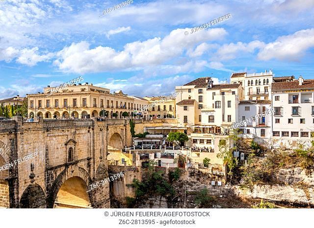 The New Bridge in Ronda over El Tajo and the river Guadalevín, province of Malaga, view of balcony Mirador de Aldehuela, Andalusia, Spain