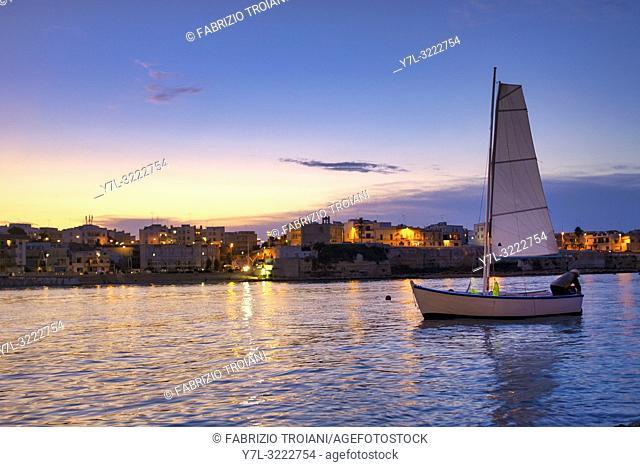Boat in the gulf of Otranto at Sunset, Otranto, Italy
