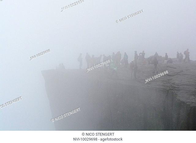 Pulpit Rock in fog, Ryfylke, Rogaland, Norway
