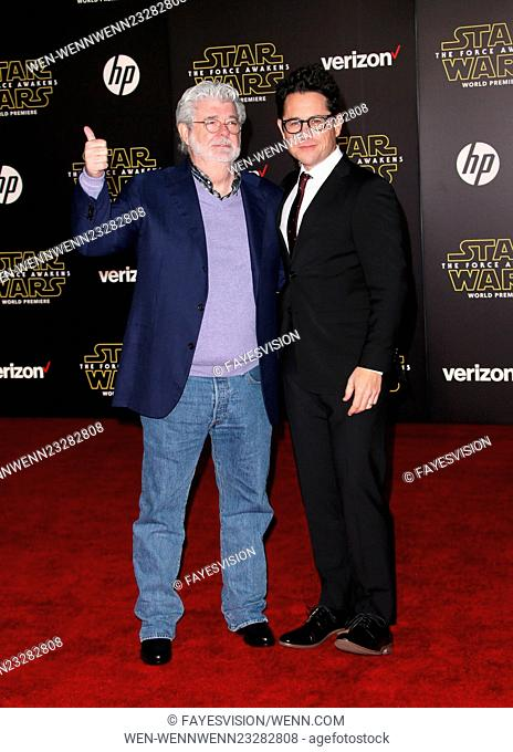 "Premiere Of Walt Disney Pictures And Lucasfilm's """"Star Wars: The Force Awakens"""" Featuring: George Lucas, J.J. Abrams Where: Hollywood, California"