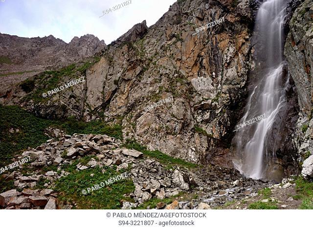 Ak Sai waterfall, Ala Archa national park, Chui province, Kyrgyzstan