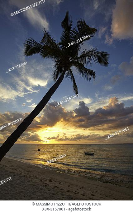 The beach in Le Morne Brabant at sunset, Mauritius