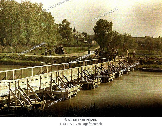War, Europe, world war I, 1917, Europe, world war, color photo, Autochrome, F. Cuville, western front, department Aisne, France, Soissons, wooden bridge