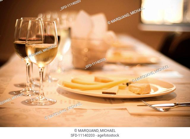 Table Set for Wine and Cheese Tasting