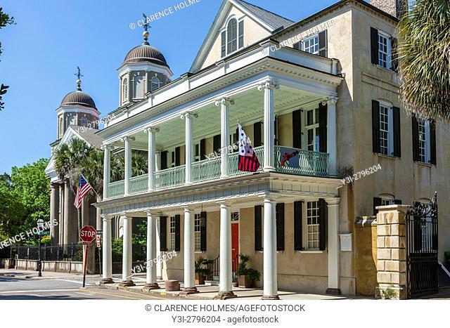 The historic antebellum Branford-Horry House on Meeting Street in Charleston, South Carolina