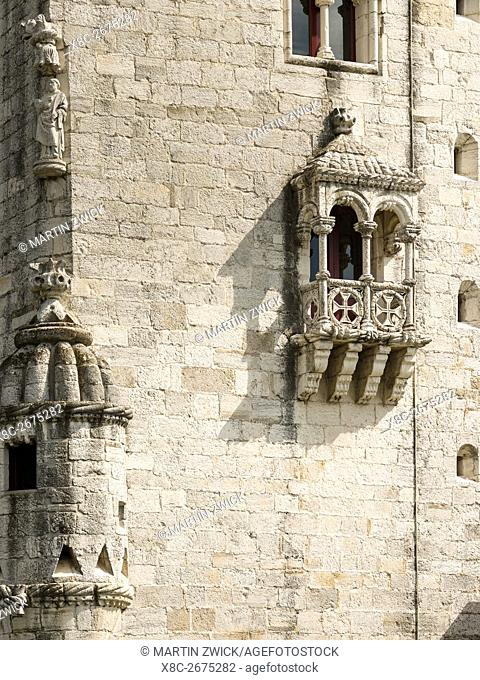 Torre de Belem, part of the UNESCO world heritage, at the river Tagus (Tejo). Lisbon (Lisboa) the capital of Portugal. Europe, Southern Europe, Portugal, March