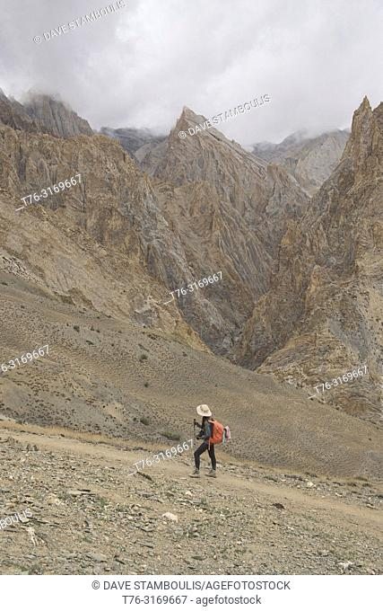 Trekking in the Zanskar mountains, Dundunchen La Pass, Ladakh, India